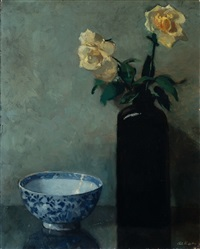 still life with yellow roses by otto b. de kat
