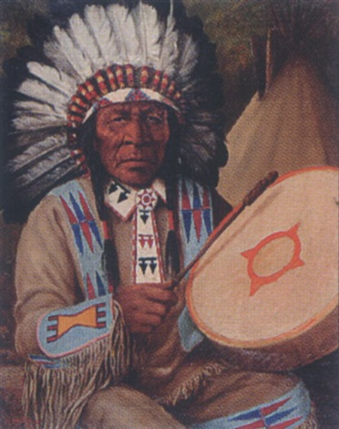 untitled plains indian chief by henry metzger