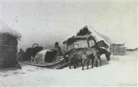 traineaux dans la neige by a. akininoff