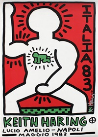 ausstellungsplakat lucio amelio-napoli, maggio 1983 by keith haring