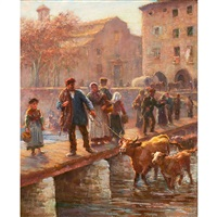 market day, girona, spain by arthur trevor haddon