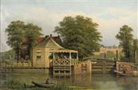 daily activities near a lock on a summer day by eduard alexander hilverdink