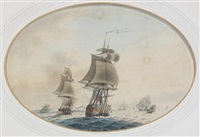warships off the coast (+ warship becalmed; pair) by samuel atkins
