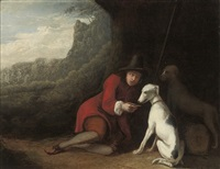 a shepherd seated in a cave by ludolf de jongh