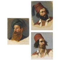 portraits of two greek freedom fighters and the ali pasha (3 works, various sizes) by paul emil jacobs