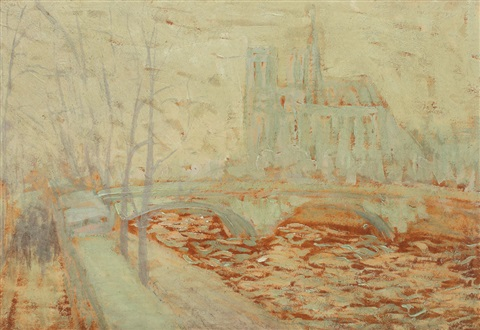 notre dame while raining by henri visconte