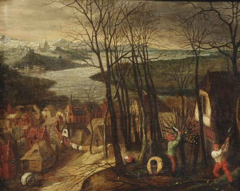 an extensive river landscape with figures chopping wood a village in the background by pieter brueghel the younger