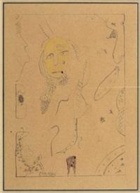composition à une tête jaune by gaston chaissac
