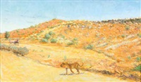 lioness and gemsbok in the kalahari by zakkie (zacharias) eloff