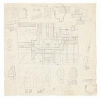 foglio di studi: natura morta, con altri disegni e scritte (double-sided) by atanasio soldati
