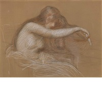 untitled (girl brushing her hair) by philip leslie hale