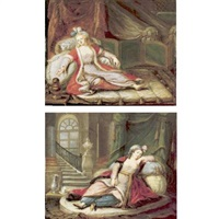 a woman in ottoman dress, reclining (+ another similar; pair) by le suire