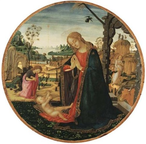 the madonna and child the youthful saint john the baptist and an angel in a landscape beyond by jacopo del sellaio