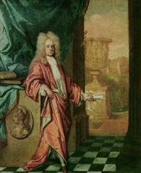 portrait of sir richard pyne, lord chief justice of the common pleas in ireland, wearing red robes by william gandy