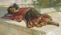 nautch girl resting by edwin lord weeks
