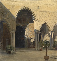 patio de las doncella in alkazar (sevilla) by johann victor kramer