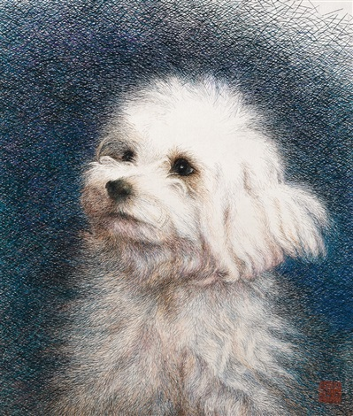 white little dog embroidered by by sima jianming with the direction of guan peiying by ren huixian