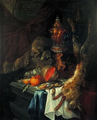 nature morte aux hanap, fruits et lièvre sur un entablement by christian striep