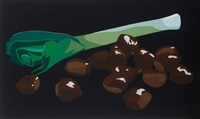 still life with chestnuts and leek by julian opie