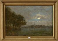 paysage de campagne au clair de lune by guillaume vogels