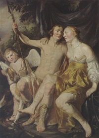 venus, adonis and cupid, together with hounds by hendrik heerschop