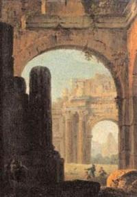 ruines antiques avec arc et pyramide animées de promeneurs by antonio zucchi