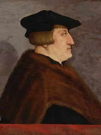 profile portrait of a gentleman, half length, wearing a black hat and jacket with a fur coat, before a parapet by christoph amberger