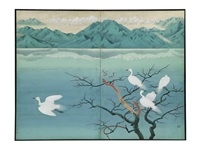 a lake in winter two-fold screen by senjin gokura