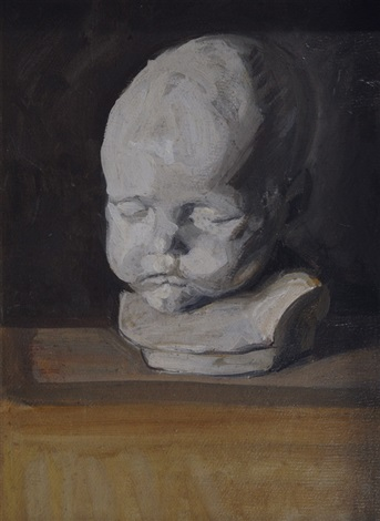 still life with white childs bust by franz nölken