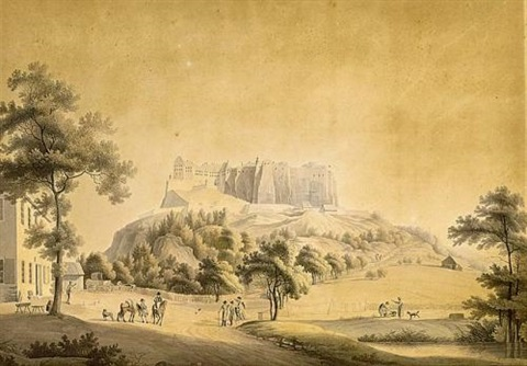 a fortified town with a castel in a hilly landscape 2 others 3 works by jordanus hoorn