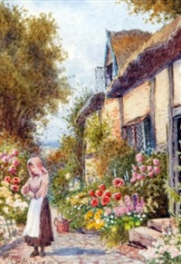 lady by cottage and garden by john h. tyson