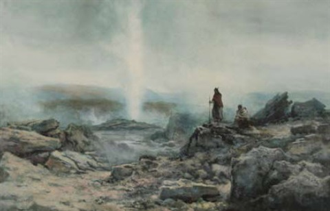 geyser erupting with maori figures by william joseph wadham