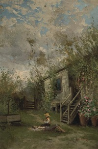 two children resting by a house (spring) by alfred c. rodriguez
