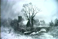 a winter wooded river landscape with figures on a track a  church beyond by francis newton