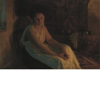 woman by firelight by albert ritzberger