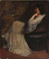 the wife of the artist in a white dress by herman albert gude vedel