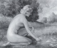 seated nude maiden by wendell rogers