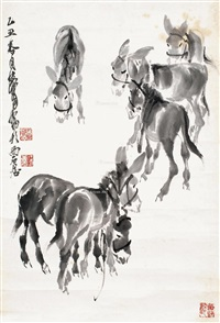 六驴图 镜片 水墨纸本 by huang zhou
