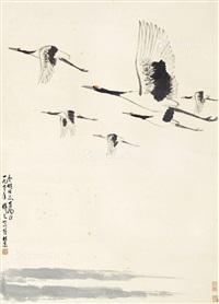 仙鹤 立轴 设色纸本 by wu zuoren