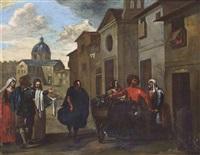 figures conversing before classical buildings by jan miel