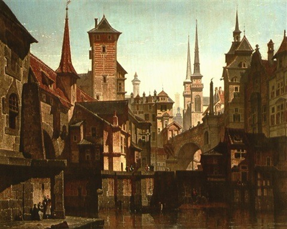 le vieux quartier de la pegnitz à nuremberg by françois stroobant