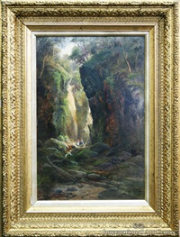 in gorge near waterfall - water of leith dunedin by james peele