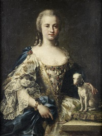 portrait of a lady, half-length, in an white embroidered dress and a blue sash, standing beside her dog by sebastiano ceccarini