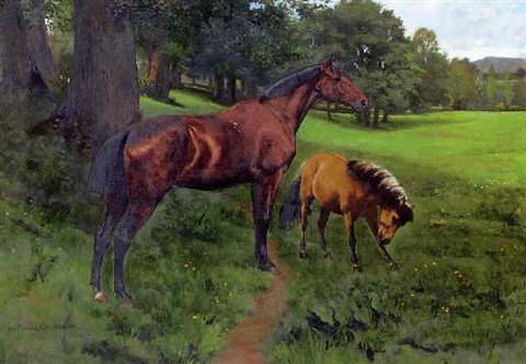 mare and foal in a landscape by william frank calderon