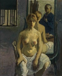artist and model (in the mirror) by moses soyer
