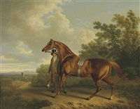 a chestnut hunter and his groom in a landscape by charles towne