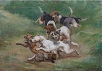 quatre chiens prenant un renard by jules bertrand gélibert
