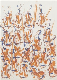 empreinte de violons orange by arman