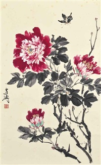 flowers and butterfly by wang xuetao