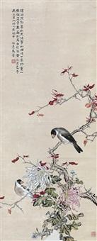 花鸟 镜片 设色纸本 (birds & flowers) by ma jin